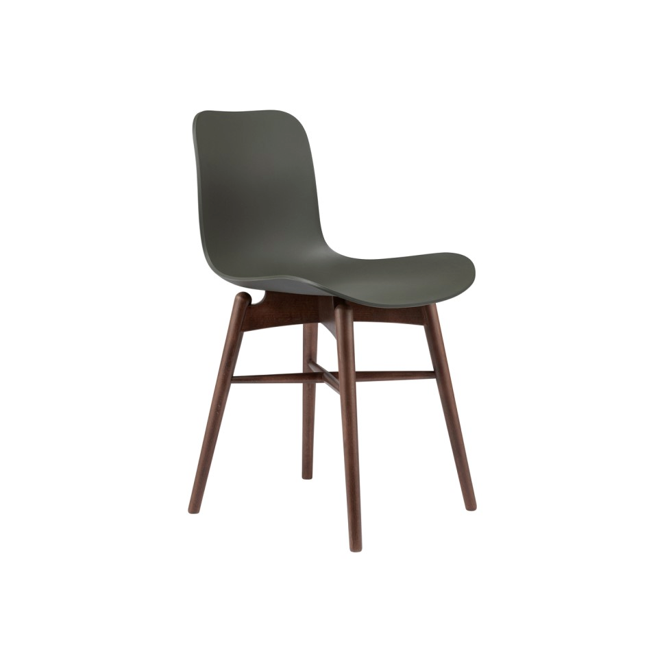 Norr11 Langue Chair Wood Dark Smoked Plastic Army Green