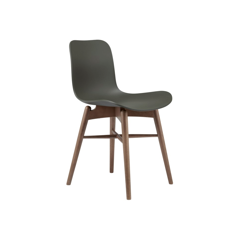 Norr11 Langue Chair Wood Light Smoked Plastic Army Green