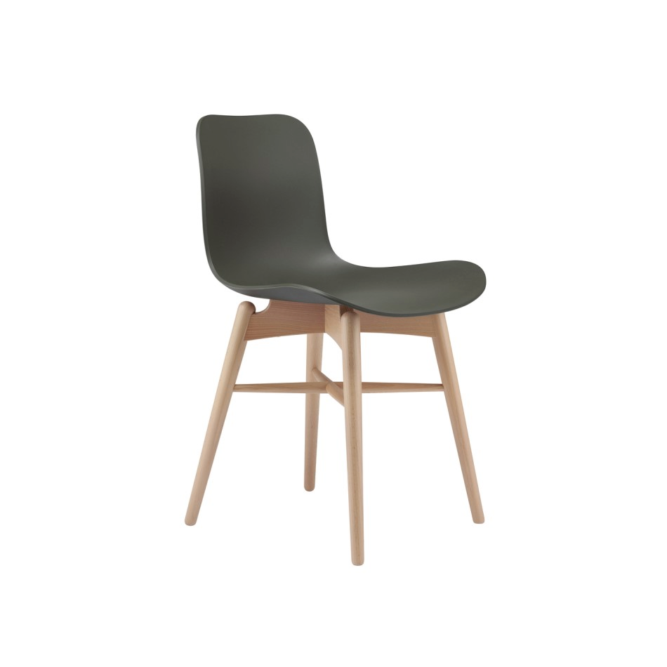 Norr11 Langue Chair Wood Nature Plastic Army Green