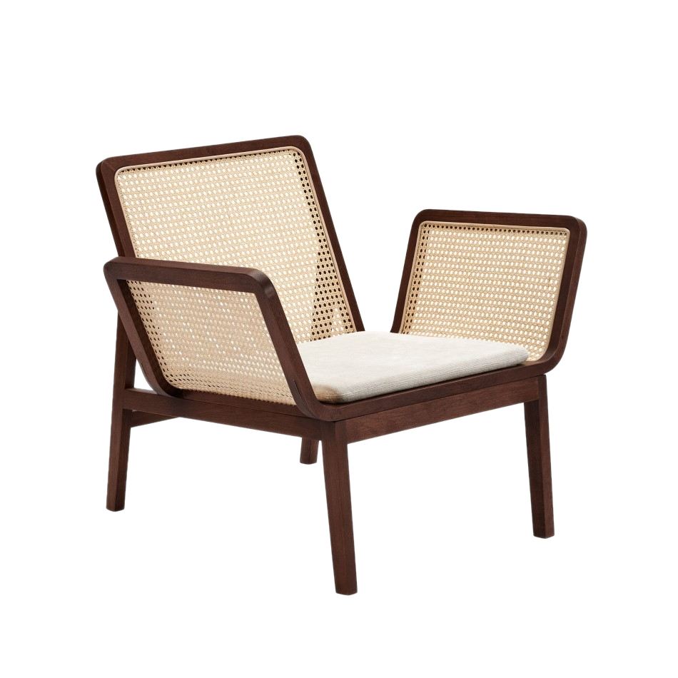 Norr11 Le Roi chair dark smoked oak with linen pillow